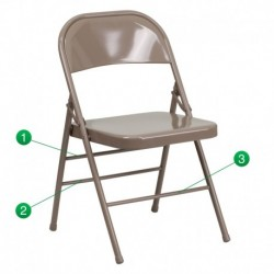 MFO Triple Braced & Double Hinged Beige Metal Folding Chair