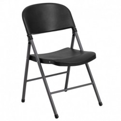 MFO 330 lb. Capacity Black Plastic Folding Chair with Charcoal Frame