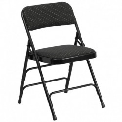 MFO Curved Triple Braced & Quad Hinged Black Patterned Fabric Upholstered Metal Folding Chair