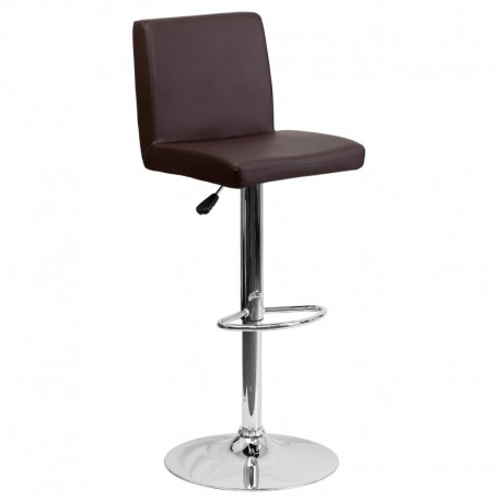 MFO Contemporary Brown Vinyl Adjustable Height Bar Stool with Chrome Base