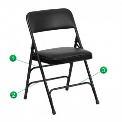 MFO Curved Triple Braced & Quad Hinged Black Vinyl Upholstered Metal Folding Chair