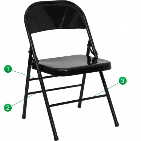 MFO Triple Braced & Double Hinged Black Metal Folding Chair