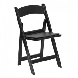 MFO 1000 lb. Capacity Black Resin Folding Chair with Black Vinyl Padded Seat