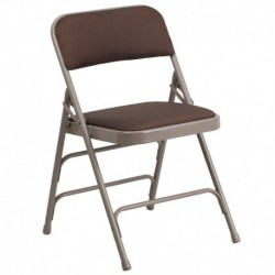 MFO Curved Triple Braced & Quad Hinged Brown Patterned Fabric Upholstered Metal Folding Chair