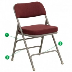 MFO Premium Curved Triple Braced & Quad Hinged Burgundy Fabric Upholstered Metal Folding Chair