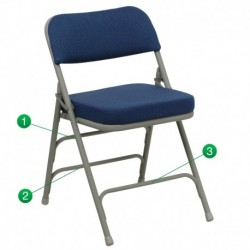 MFO Premium Curved Triple Braced & Quad Hinged Navy Fabric Upholstered Metal Folding Chair