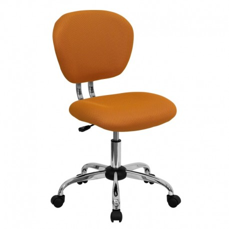 MFO Mid-Back Orange Mesh Task Chair with Chrome Base