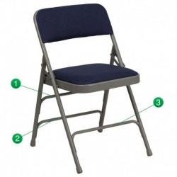 MFO Curved Triple Braced & Quad Hinged Navy Fabric Upholstered Metal Folding Chair