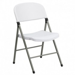 MFO 330 lb. Capacity White Plastic Folding Chair with Gray Frame