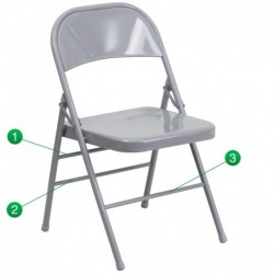 MFO Triple Braced & Double Hinged Gray Metal Folding Chair