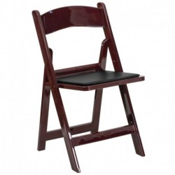 MFO 1000 lb. Capacity Red Mahogany Resin Folding Chair with Black Vinyl Padded Seat
