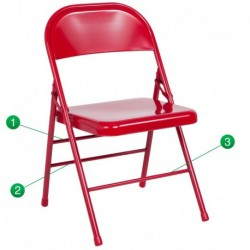 MFO Triple Braced & Double Hinged Red Metal Folding Chair