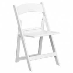 MFO 1000 lb. Capacity White Resin Folding Chair with Slatted Seat