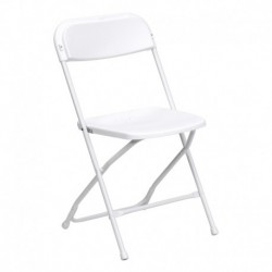 MFO 800 lb. Capacity Premium White Plastic Folding Chair