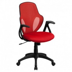 MFO Mid-Back Executive Red Mesh Chair with Nylon Base