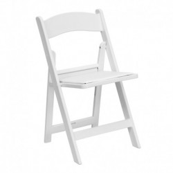 MFO 1000 lb. Capacity White Resin Folding Chair with White Vinyl Padded Seat