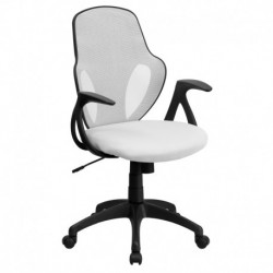 MFO Mid-Back Executive White Mesh Chair with Nylon Base