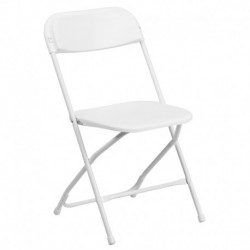 MFO 800 lb. Capacity White Plastic Folding Chair