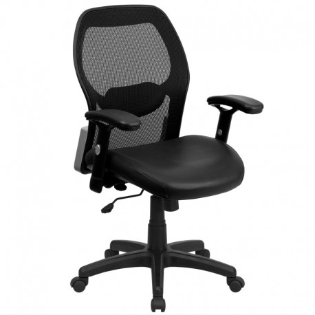 MFO Mid-Back Super Mesh Office Chair with Black Leather Seat