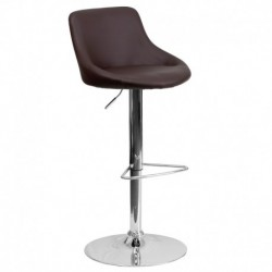 MFO Contemporary Brown Vinyl Bucket Seat Adjustable Height Bar Stool with Chrome Base