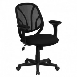 MFO Y-Go Mid-Back Black Mesh Computer Task Chair with Arms