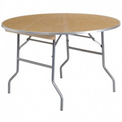 MFO 48'' Round HEAVY DUTY Birchwood Folding Banquet Table with METAL Edges