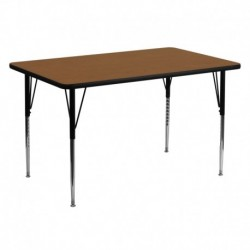 MFO 30''W x 60''L Rectangular Activity Table with 1.25'' Thick Oak Laminate Top and Standard Height Adjustable Legs