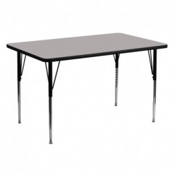 MFO 30''W x 60''L Rectangular Activity Table with 1.25'' Thick Grey Laminate Top and Standard Height Adjustable Legs