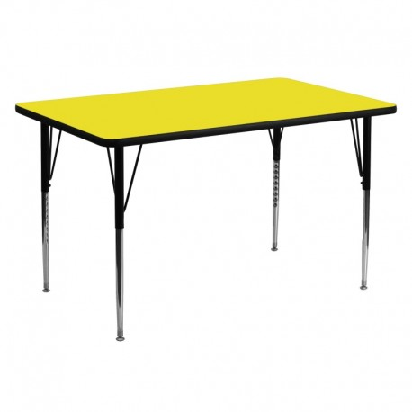 MFO 30''W x 60''L Rectangular Activity Table with 1.25'' Thick Yellow Laminate Top and Standard Height Adjustable Legs