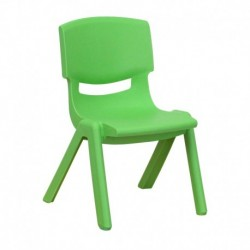 MFO Green Plastic Stackable School Chair with 10.5'' Seat Height