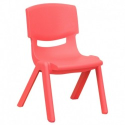 MFO Red Plastic Stackable School Chair with 10.5'' Seat Height