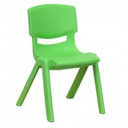 MFO Green Plastic Stackable School Chair with 12'' Seat Height