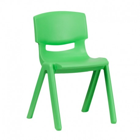 MFO Green Plastic Stackable School Chair with 13.25'' Seat Height