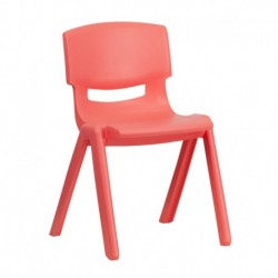 MFO Red Plastic Stackable School Chair with 13.25'' Seat Height