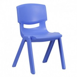 MFO Blue Plastic Stackable School Chair with 15.5'' Seat Height