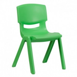 MFO Green Plastic Stackable School Chair with 15.5'' Seat Height
