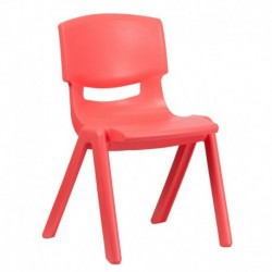MFO Red Plastic Stackable School Chair with 15.5'' Seat Height