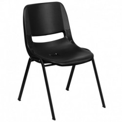 MFO 440 lb. Capacity Black Ergonomic Shell Stack Chair with Black Frame and 12'' Seat Height