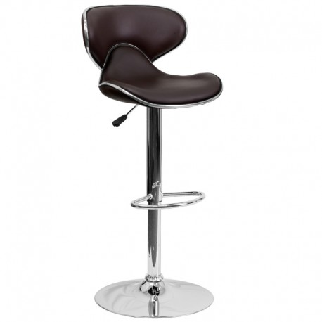 MFO Contemporary Cozy Mid-Back Brown Vinyl Adjustable Height Bar Stool with Chrome Base