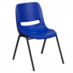MFO 440 lb. Capacity Navy Ergonomic Shell Stack Chair with Black Frame and 12'' Seat Height