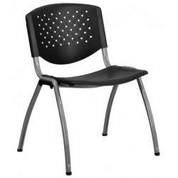 MFO 880 lb. Capacity Black Polypropylene Stack Chair with Titanium Frame Finish