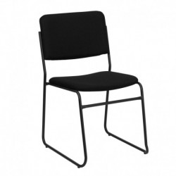 MFO 1000 lb. Capacity High Density Black Fabric Stacking Chair with Sled Base