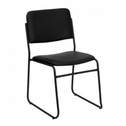 MFO 1000 lb. Capacity High Density Black Vinyl Stacking Chair with Sled Base