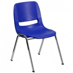 MFO 440 lb. Capacity Navy Ergonomic Shell Stack Chair with Chrome Frame and 14'' Seat Height