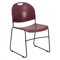MFO 880 lb. Capacity Burgundy High Density, Ultra Compact Stack Chair with Black Frame