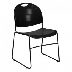 MFO 880 lb. Capacity Black High Density, Ultra Compact Stack Chair with Black Frame