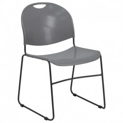 MFO 880 lb. Capacity Gray High Density, Ultra Compact Stack Chair with Black Frame