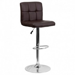 MFO Contemporary Brown Quilted Vinyl Adjustable Height Bar Stool with Chrome Base