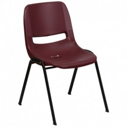 MFO 880 lb. Capacity Burgundy Ergonomic Shell Stack Chair