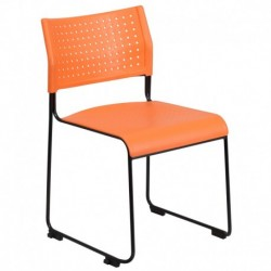 MFO 600 lb. Capacity Orange Sled Base Stack Chair with Ganging Brackets